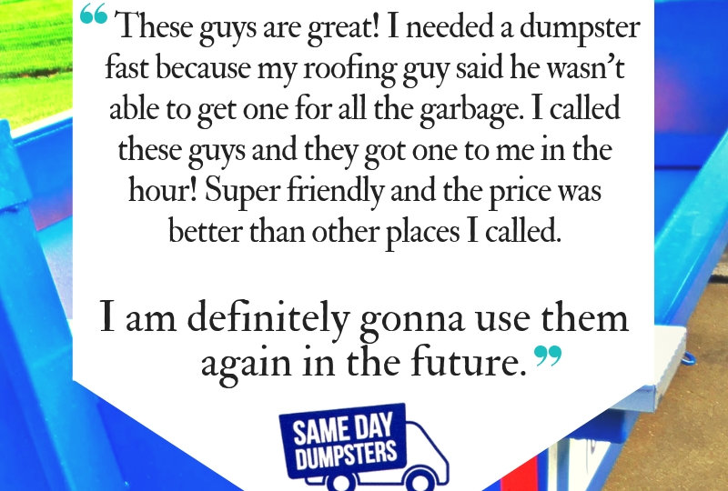 Same Day Dumpsters Reviews