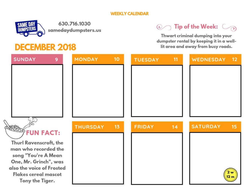 SDD DECEMBER 2018 - Week 2 - Calendar