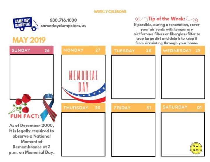 Weekly Calendar 5-2019 Week 5