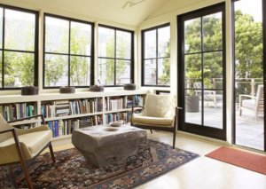 bookcase under window