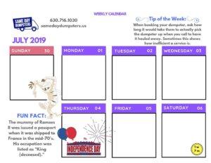 1st Week of July