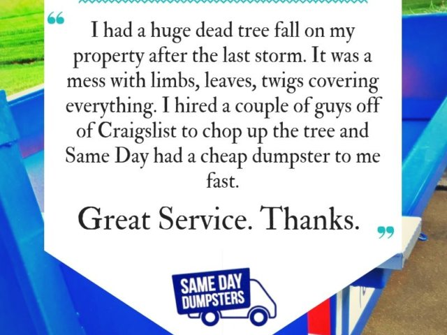Customer Testimonials for Same Day Dumpsters