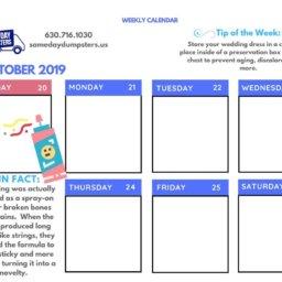 Weekly Calendar 5 19 Week 4 Same Day Dumpsters Rental