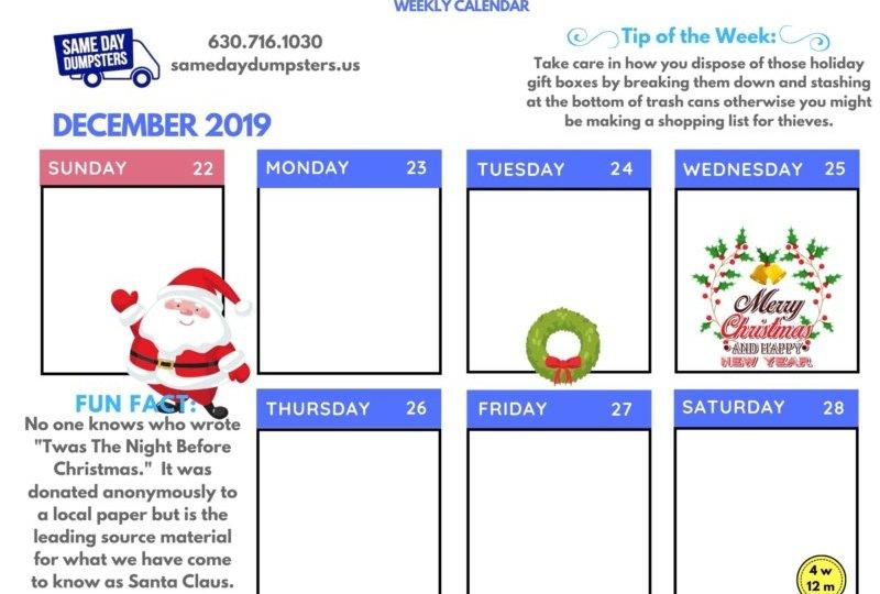 Same Day Dumpster Weekly Calendar